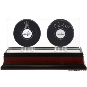 Autographed Washington Capitals Alex Ovechkin and Evgeny Kuznetsov Fanatics Authentic Hockey Pucks with Mahogany Two-Puck Case