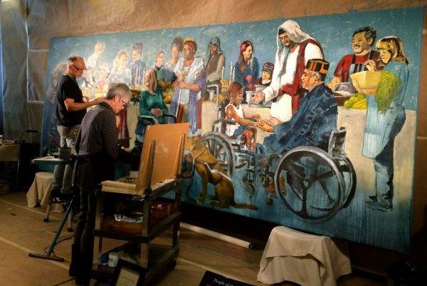 Luke 14 Mural Revealed - Blank Canvas Hyatt Moore Oil Painter