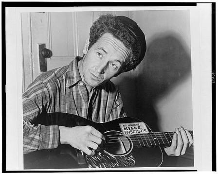 Photograph of Woody Guthrie courtesy of the Library of Congress.