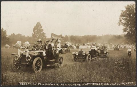 A photo from the records of the National Woman's Party in the Library of Congress shows suffragists in Hyattsville in 1913.