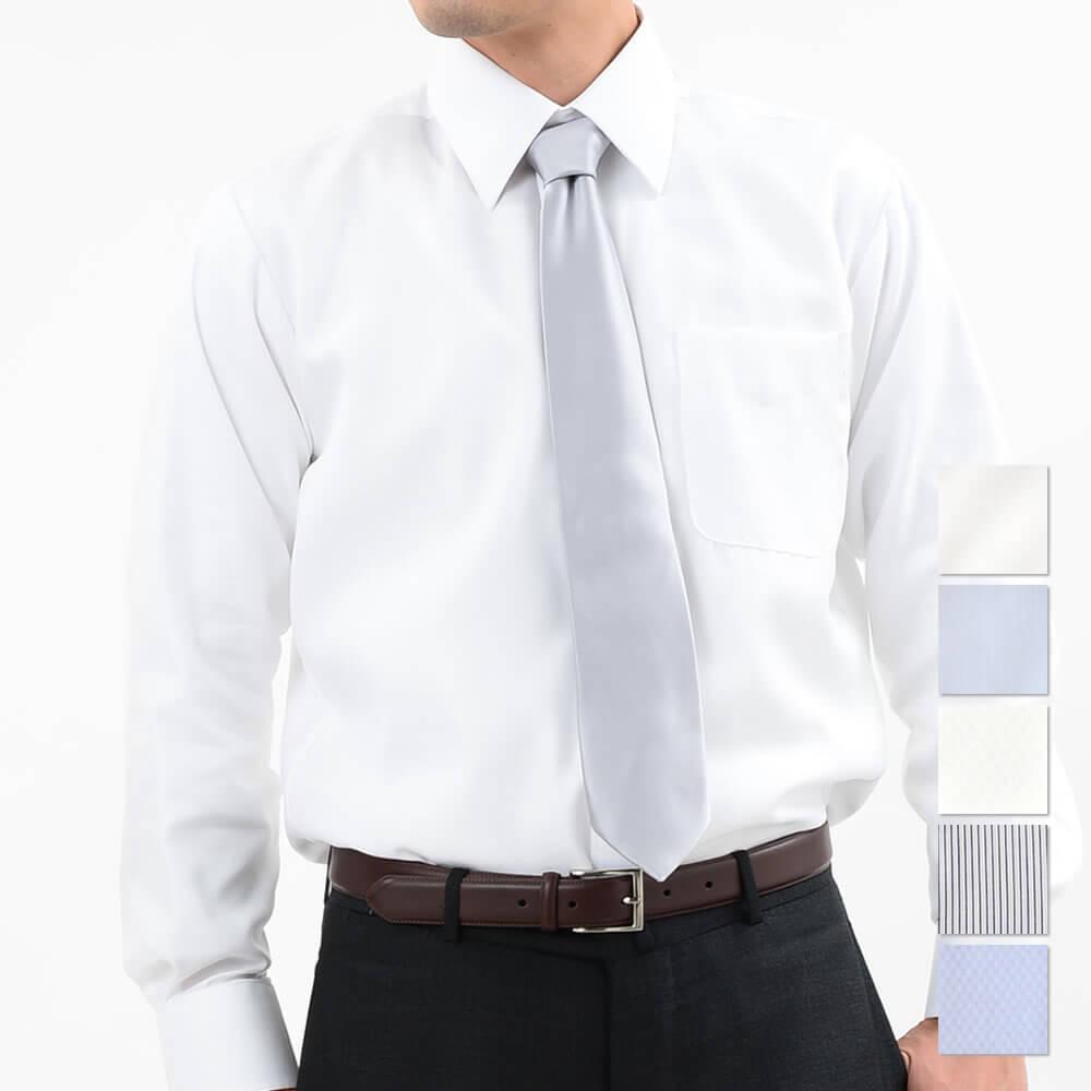 セミワイドカラー 白 超形態安定ワイシャツ