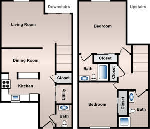 2 Bed / 2½ Bath / 1400 ft² / Deposit: $500 / Rent: $825