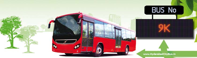 9K no Bus Route Hyderabad City Bus Timings, Route 9K Bus Stops, Frequency, 9K First & Last Bus