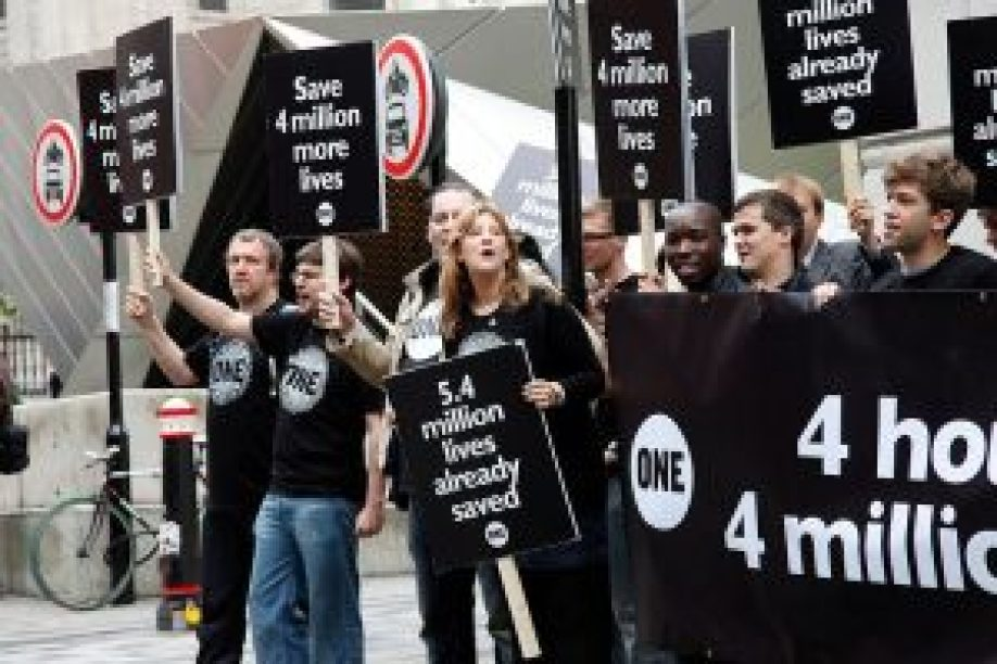 Protests against anti-vaccination movement concept.