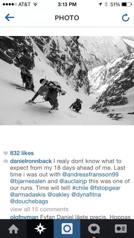 Daniel Ronnback's Post Leading to their Patagonia trip with JP Auclair + Andreas Fransson
