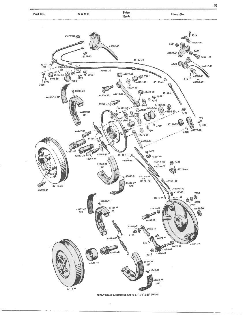 07.7 Wheels and Brakes: Front Wheel Brake and Control Parts