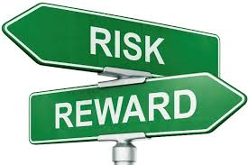 Roadsigns showing risk and reward