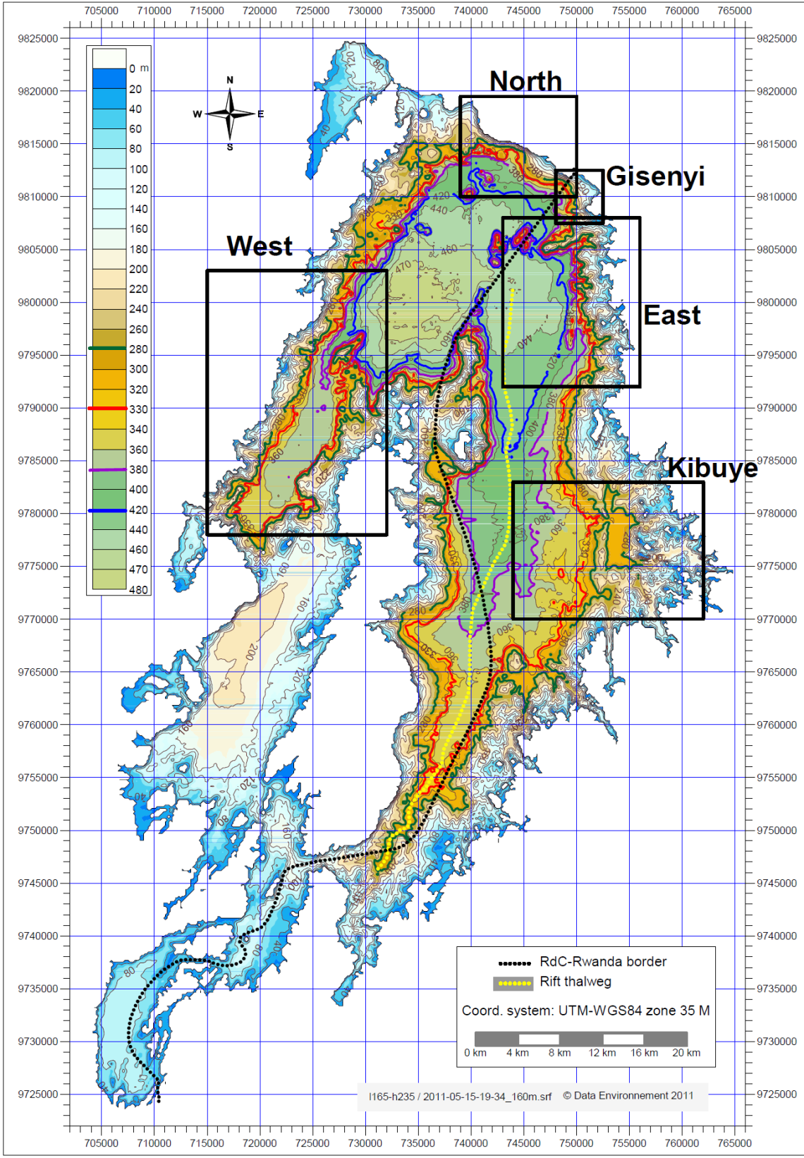 Bathymetric map of Lake Kivu showing some key depths that define resource-bearing layers