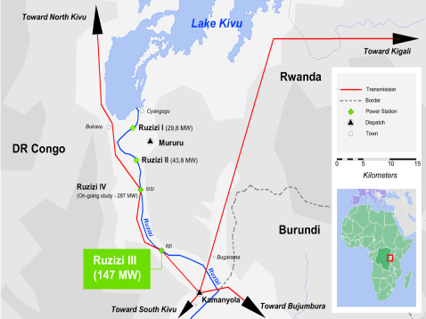 Map of the Ruzizi River cascade below Lake Kivu showing run-of-river hydro projects
