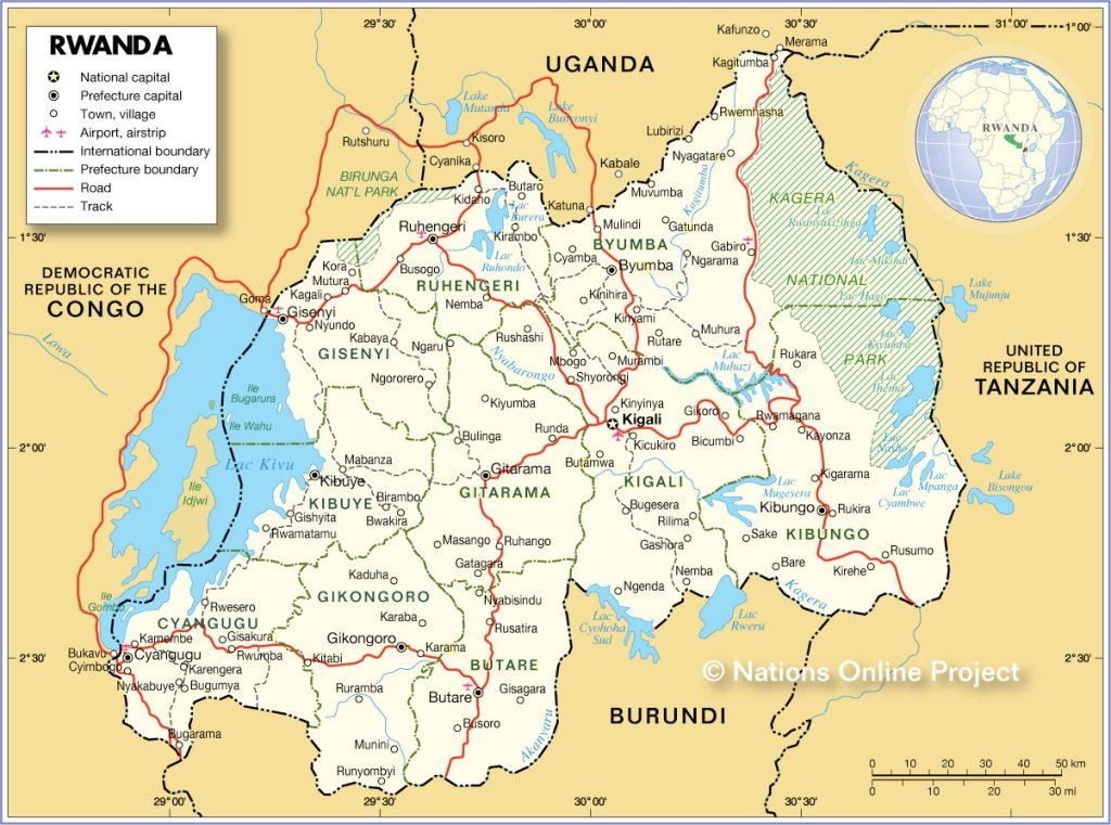 Political Map of Rwanda showing Lake Kivu Location