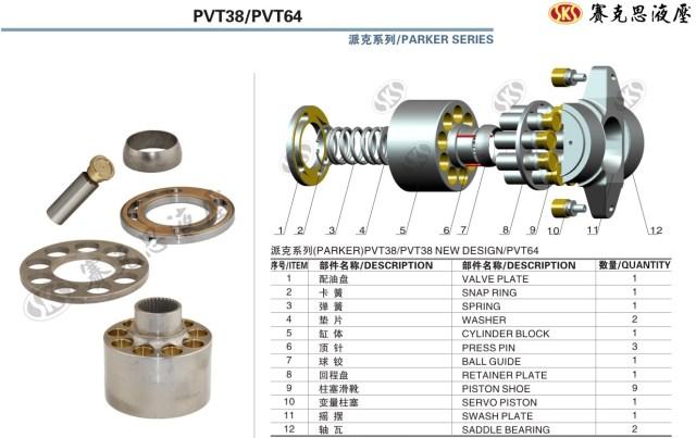 Запчасти к гидронасосам на Parker-Denison серии PVT38-64