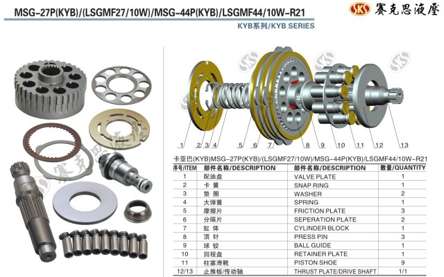 Запчасти к гидронасосам KAYABA и SUMITOMO серии MSG-27P/44P/LSGMF44 SWING MOTOR