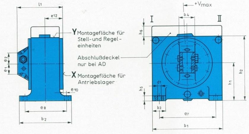 Bezeichnung der Abmessungen Bauform A und AD [TGL 10868]