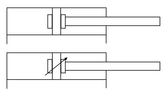 Symbole von doppeltwirkende Hydraulikzylinder mit Endlagenbremsung (Dämpfung)