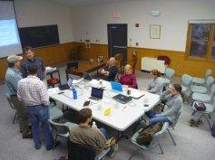 Hubbard Brook Hydropedology team at a rainy day meeting.