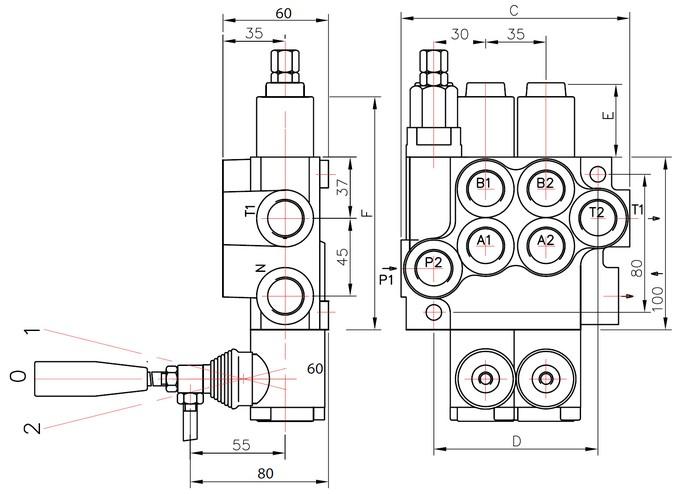 Distributeur 40 l/min hydraulique manuel monobloc de 1 à 7
