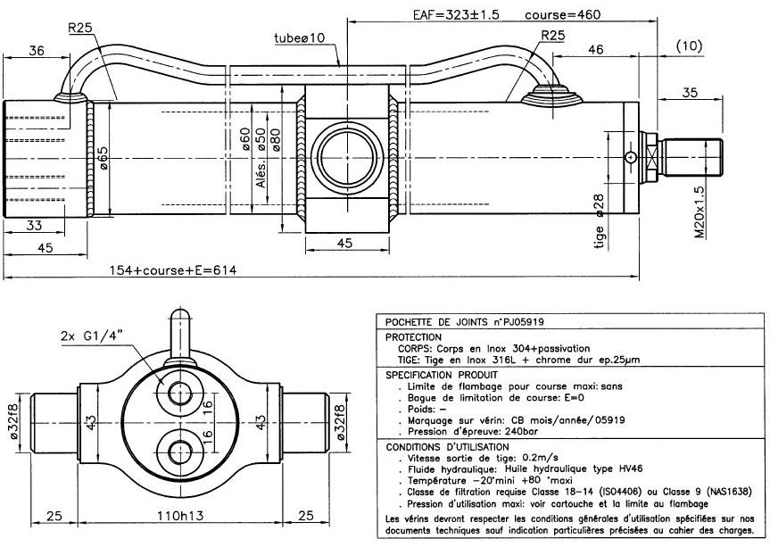 Vérin hydraulique INOX pas cher double effet course 460 mm