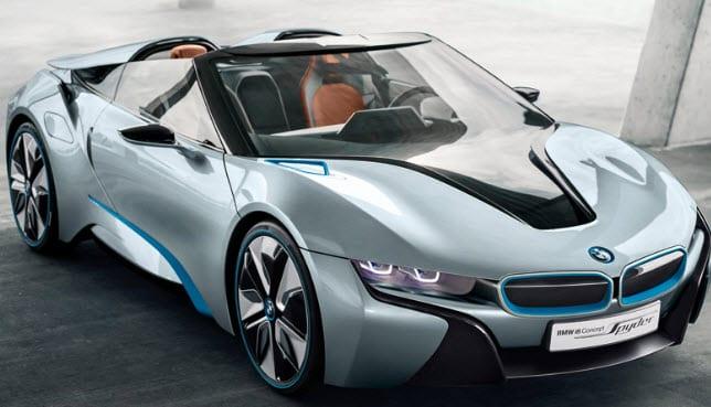 BMW unveils its electric-gas hybrid i8 Spyder concept car