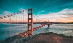 Hydrogen Fuel Cell Ferry - Golden Gate Bridge in San Francisco