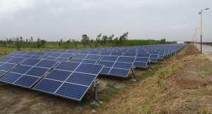 Solar energy capacity - row of solar panels