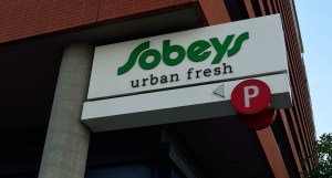 Recycled plastic bags - Sobeys sign in Canada