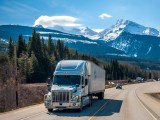 Hydrogen fuel cell trucks - transport truck on road