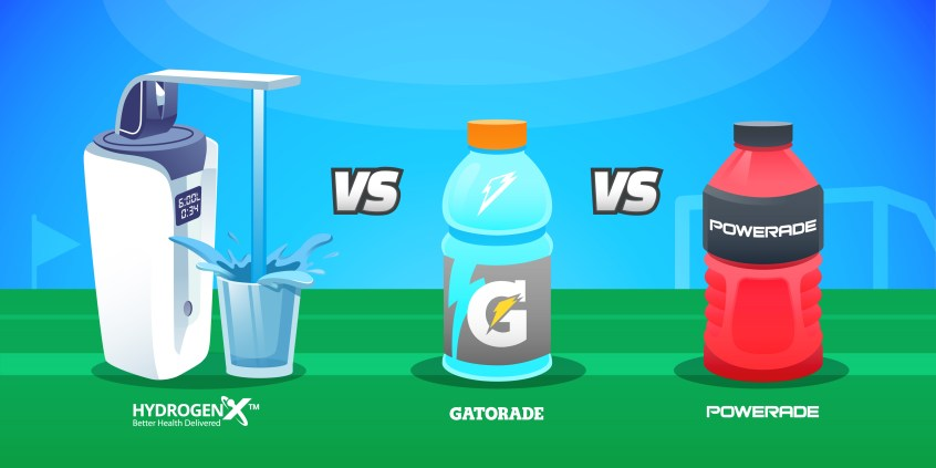 Hydrogen-rich Alkaline Water vs Gatorade vs Powerade