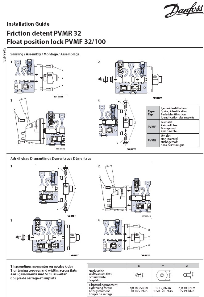 danfoss mid position valve wiring diagram mobile home ac unit 157b0004 hydraulic distributor pvg32 opposite the manual control suppress positioning springs on side reference