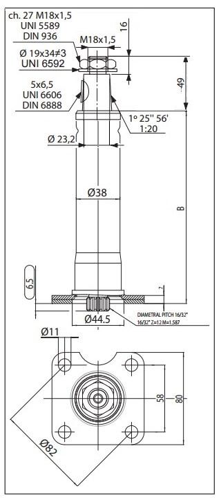 Colonne de direction pour orbitrol Danfoss Lg = 520 mm