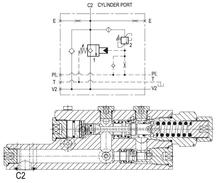 Clapet hydraulique à talon simple piloté basse pression