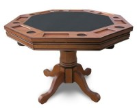 Antique Dark Oak Kingston 3-n-1 Poker Table with 4 Chairs ...
