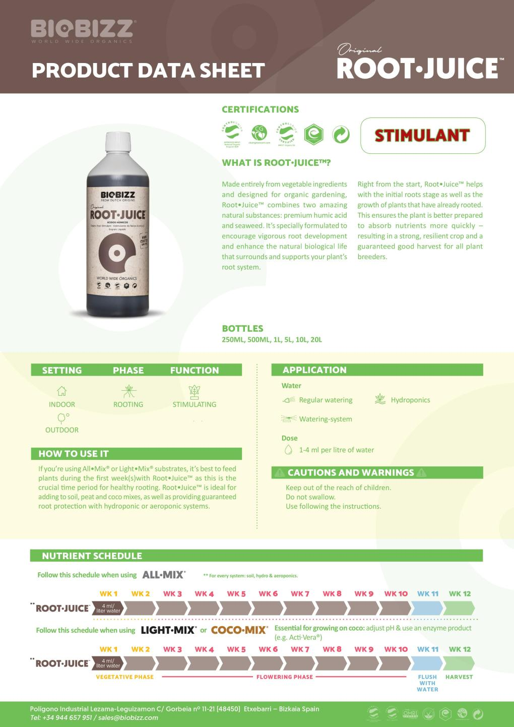 Biobizz Root-Juice Product Data Sheet 2020
