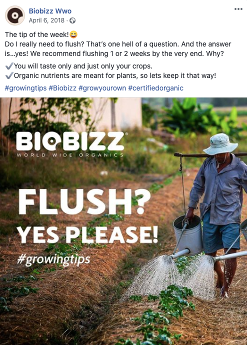 Do you need to flush Biobizz? Yes, please! Facebook post