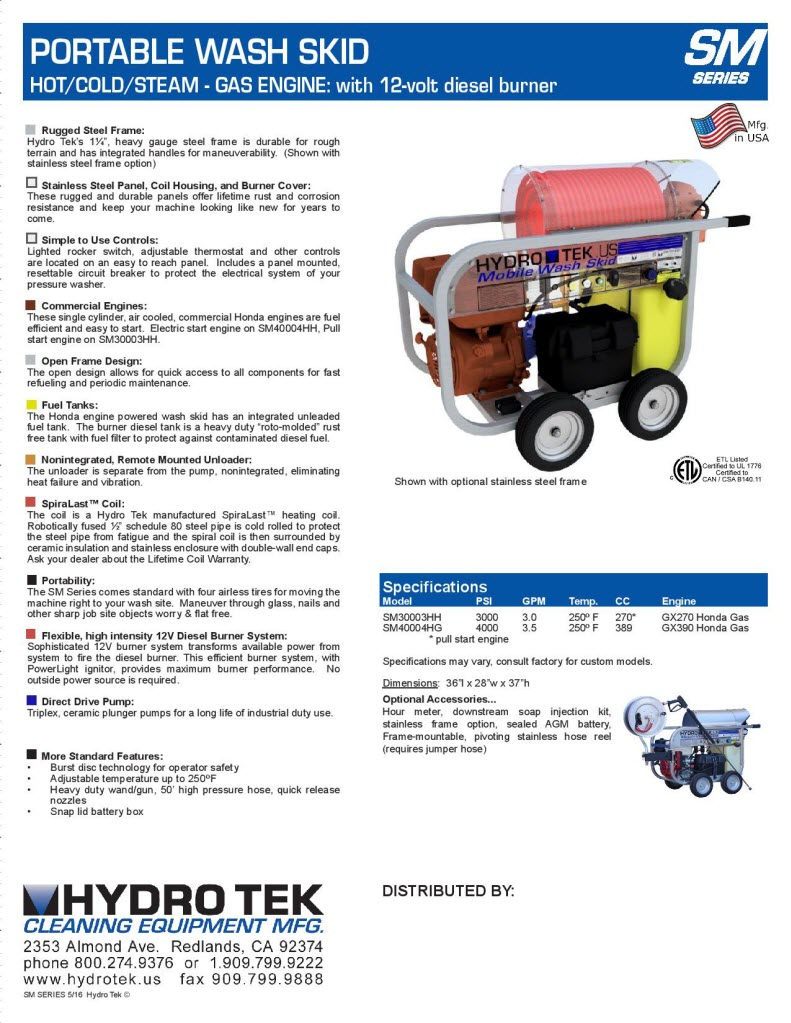 hight resolution of  sm series portable hot water pressure washer brochure page2
