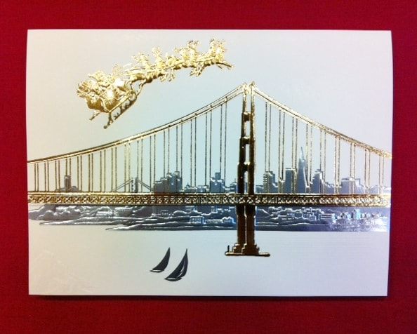 SF Golden Gate Themed And SF City Scene Holiday Cards And
