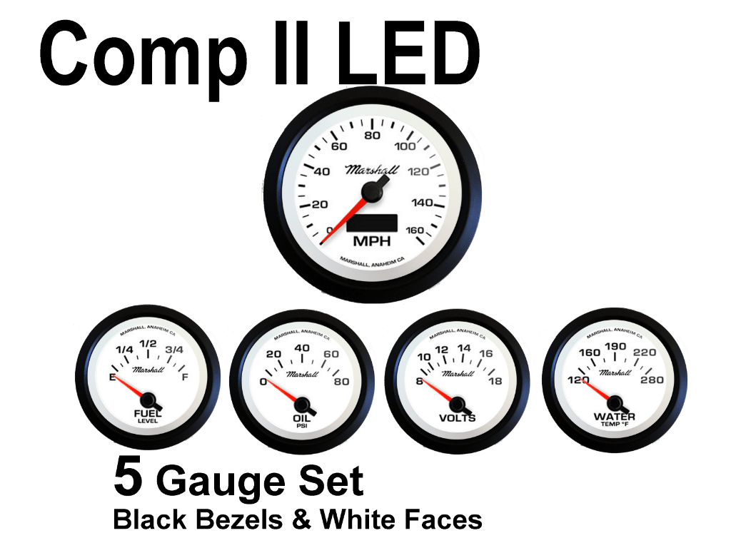 Comp Ii Led 5 Gauge Set White Face