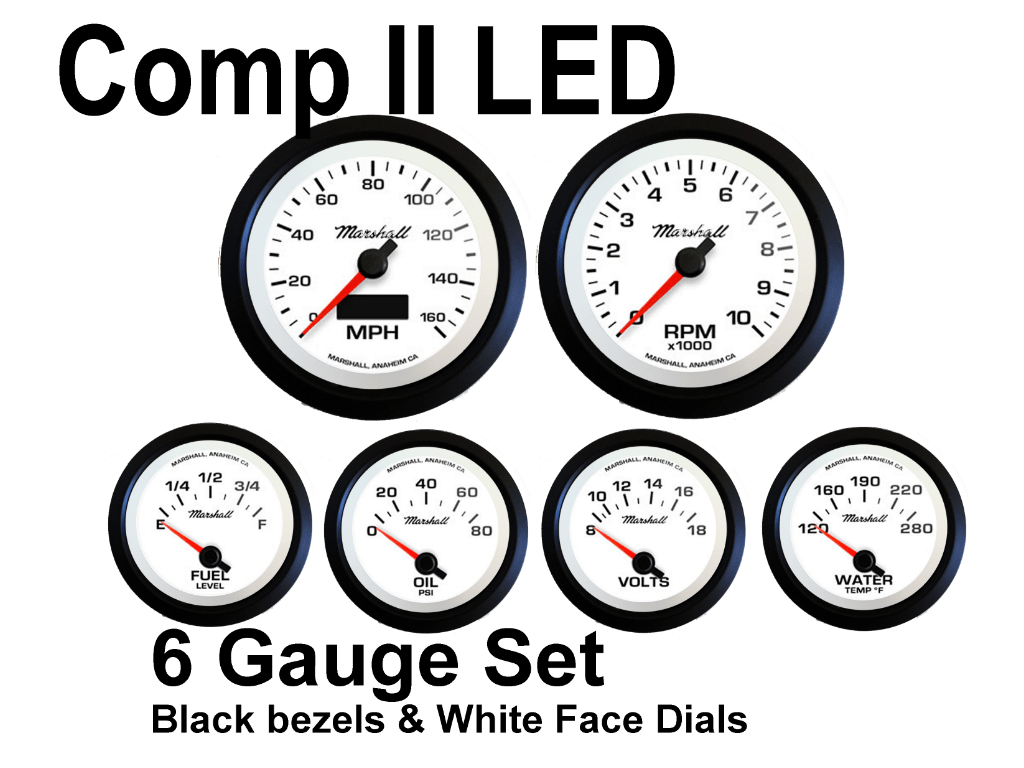 Comp Ii Led 6 Gauge Set White Face