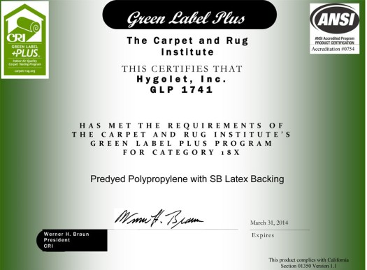 Green Label Plus Certified. Mats Hygomat Antimicrobial Urinal