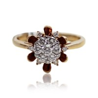 Rose Gold Flower solitaire Engagement Ring