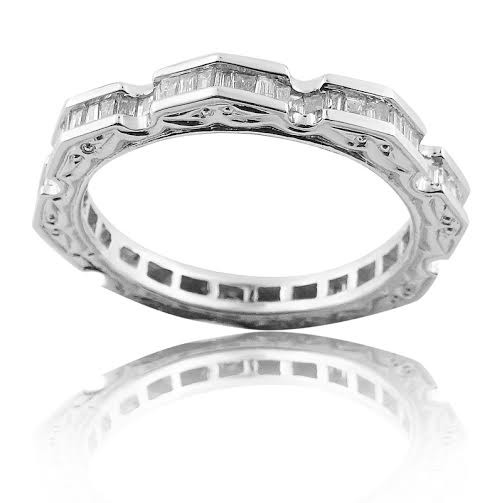 White Gold Wedding Band With Emerald Cut Diamonds