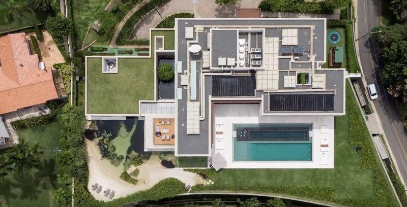 villa moderne, vue à vol d'oiseau