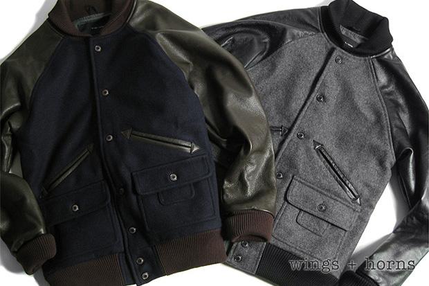 wings horns melton wool award varsity jacket Wings + Horns Melton Wool Award Varsity Jacket