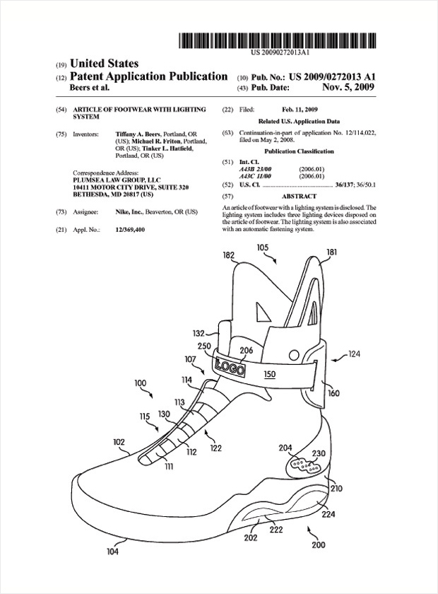 nike air mag marty mcfly patent 2 Nike Air Mag Marty McFly Patent News