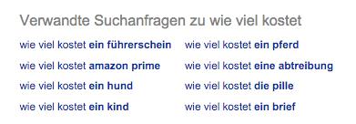 Google Suche Verwandte Anfragen