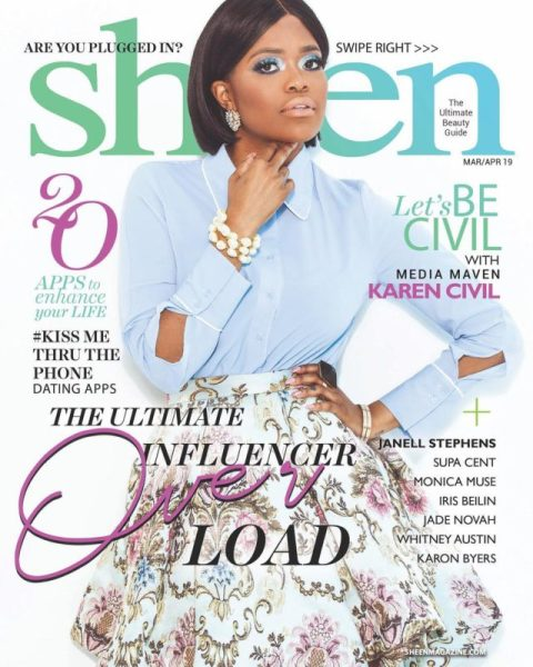 Close Up Karen Civil Glows In Sheen Magazine S March April Issue