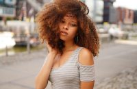 woman with long natural hair