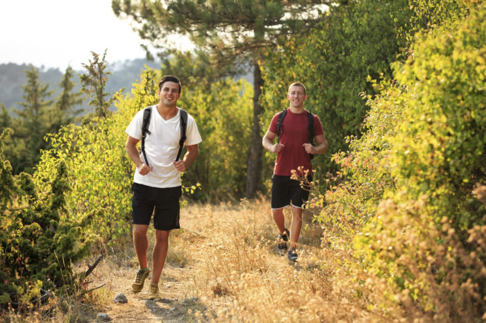 Two men are hiking in forest