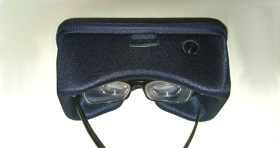 Xiaomi VR easily fits over glasses -- and has a control button on top.(Photo by Maria Korolov.)