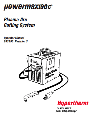 Hypertherm Powermax 190c Service Manual