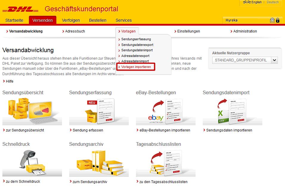 DHL Versenden - Hyreka Warenwirtschaft